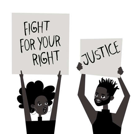 Young Black Character with Poster. Cartoon Style People and Black Lives Matter Protest Board. Isolated Person and Banner. Flat Illustration African American Face. Hand Drawn Vector Drawing