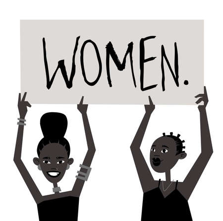 Young Black Character Woman with Poster. Cartoon Style Girls and Feminism Protest Board. Isolated Person and Banner. Flat Illustration African American Face. Hand Drawn Vector Drawing