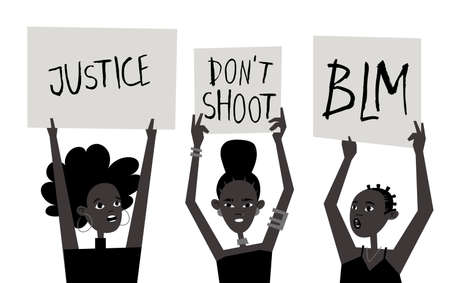 Young Black Character with Poster. Cartoon Style People and Black Lives Matter Protest Board. Isolated Person and Banner. Flat Illustration African American Face.