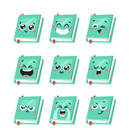 Cartoon drawing set of book for Student emoji. Hand drawn emotional schoolbook object. Actual Vector illustration character. Creative art work