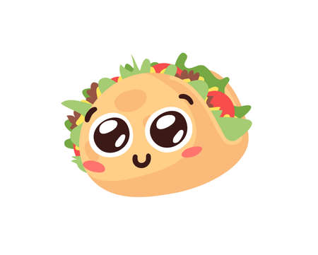 Hand Drawn Cartoon Illustration Tacos Emoji. Fast Food Vector Drawing Emoticon. Tasty Image Meal. Flat Style Collection Mexican Cuisine