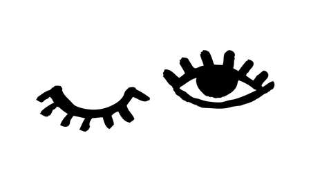 Hand drawn Fashion illustration eye and lashes. Creative ink work. Actual vector makeup drawing