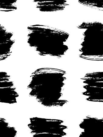 Paint drawing seamless pattern black and white smear. Hand drawn abstract illustration grunge elements. Vector abstract objects for design Vektoros illusztráció