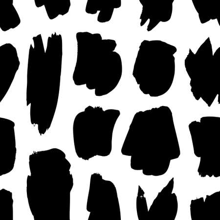 Paint drawing seamless pattern black and white smear. Hand drawn abstract illustration grunge elements. Vector abstract objects for design Vektorgrafik