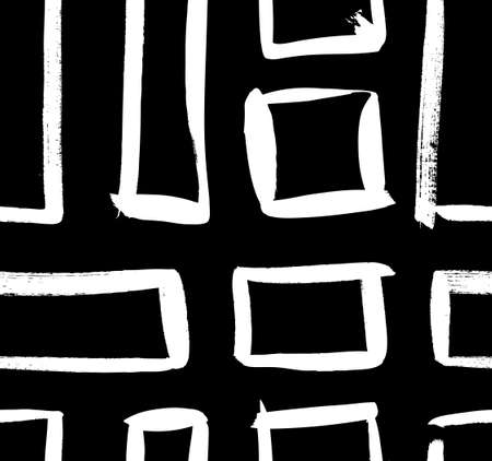 Paint drawing seamless pattern black and white squares. Hand drawn abstract illustration grunge elements. Vector abstract objects for design Vektoros illusztráció