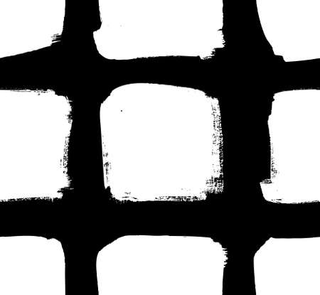 Paint drawing seamless pattern black and white squares. Hand drawn abstract illustration grunge elements. Vector abstract objects for design