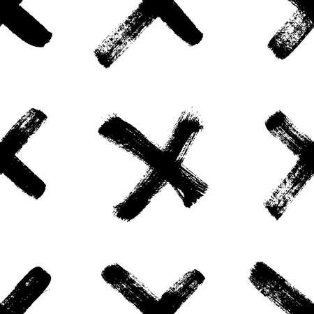 Seamless pattern with hand drawn black and white cross. Paint objects background for your design. Vector art drawing. Brush grunge illustration 일러스트