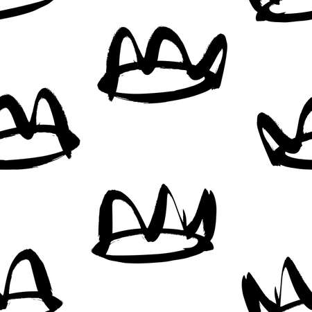 Seamless pattern with hand drawn black and white crown. Paint objects background for your design. Vector art drawing. Brush grunge illustration