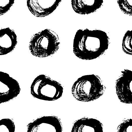 Seamless pattern with hand drawn black and white circles. Paint objects background for your design. Vector art drawing. Brush grunge illustration