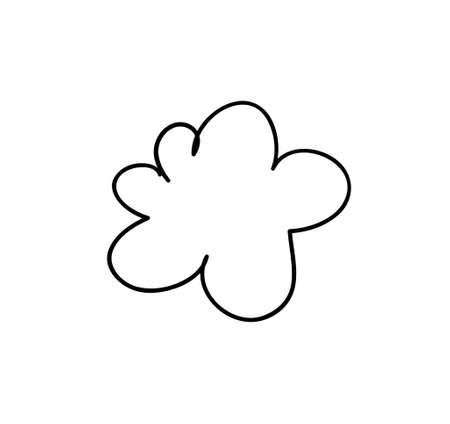 Set of funny clouds in line art style on white background. Hand drawn illustration cartoon sky. Creative work. Actual vector drawing