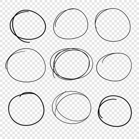 Hand drawn set of objects for design use. Black Vector doodle circles on transparent background. Abstract drawing. Artistic illustration grunge elements
