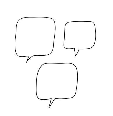 Hand drawn set of doodle speech bubbles. Vector pop art objects on transparent background