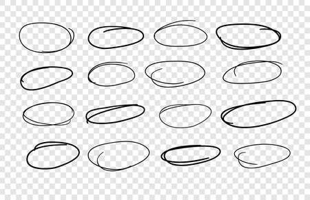 Hand drawn set of objects for design use. Black Vector doodle ellipses on transparent background. Abstract pencil drawing. Artistic illustration elements 일러스트
