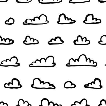 Set of funny clouds in line art style on white background. Hand drawn illustration cartoon sky. Creative paint work. Actual vector drawing