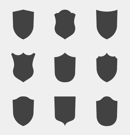Flat Clip Design Elements. Set of Vector set of Shield Silhouette. Different Coat Arms signs
