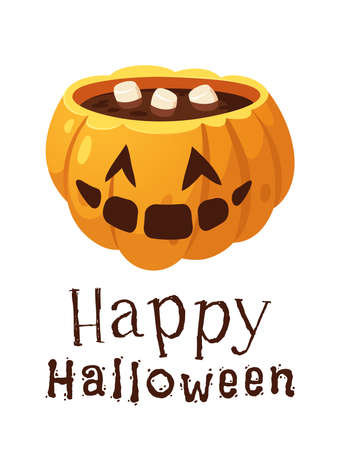 Hand drawn Halloween illustration Jack o Lantern. Creative Cartoon Style art work. Actual vector drawing food and drink for Party. Artistic isolated Season objects