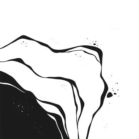 Abstract Vector Backgroung Jupiter Surface. Hand Drawn Marbel Pattern. Fashion Illustration Black and White Liquid Paint Ink