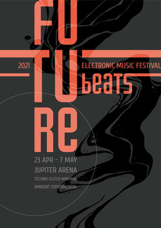 Electronic Music Festival Poster Design. Abstract Grunge Backgroung with Black Illustration Illusztráció
