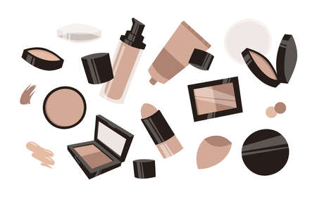 Hand Drawn Cartoon Fashion Illustration Makeup Tools Liquid Ð¡orrector. Vector Set Drawing Beauty Products Ð¡oncealers. Art Work Collection Decorative Cosmetics Skin Tone Illusztráció