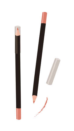 Hand Drawn Cartoon Fashion Illustration Makeup Tools Pensil for Eyes or Lips. Vector Set Drawing Beauty Product. Art Work Collection Decorative Cosmetic