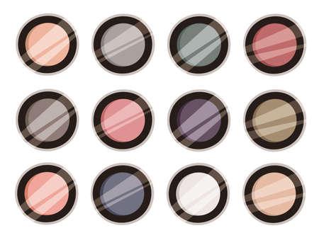 Hand Drawn Cartoon Fashion Illustration Makeup Tools Eyes Shadows. Vector Set Drawing Beauty Products Eyeshadow. Art Work Collection Decorative Cosmetics Illusztráció