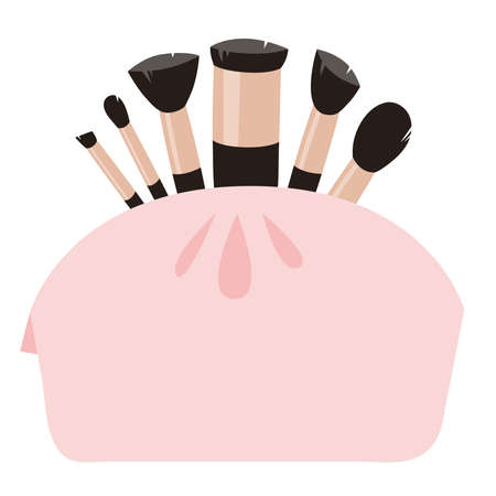 Hand Drawn Cartoon Fashion Illustration Makeup Tools Brush. Vector Set Drawing Beauty Product. Art Work Collection Decorative Cosmetic