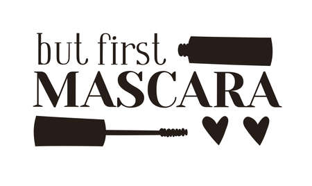 Hand Drawn Cartoon Fashion Illustration Makeup Tools Mascara. Vector Set Drawing Beauty Products. Art Work Collection Decorative Cosmetics and text