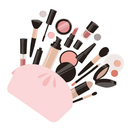 Hand Drawn Cartoon Fashion Illustration Makeup Tools. Vector Set Drawing Beauty Products. Art Work Collection Decorative Cosmetics