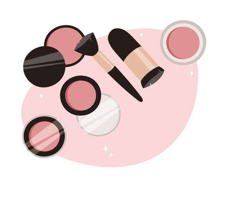 Hand Drawn Cartoon Fashion Illustration Makeup Tools Palette Blush. Vector Set Drawing Beauty Products. Art Work Collection Decorative Cosmetics