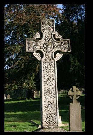 Celtic Cross, Perlethorpe Church Stock Photo