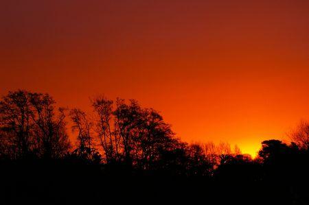 Sunrise over Edwinstowe Stock Photo