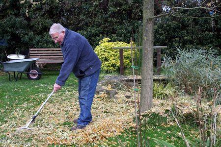 Man raking leaves to the left