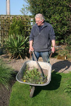 Man pushing a wheelbarrow