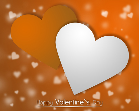 White and orange hearts on a orange backgroung with Dispersed little hearts.