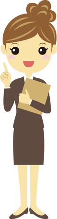 suite: A working woman in brown suite with pointing pose