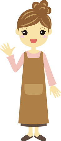 whole body: A woman with apron waving