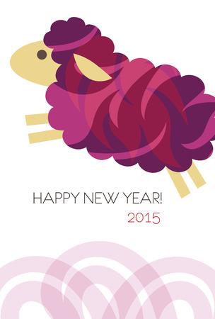 Nieuw jaar kaart met schapen