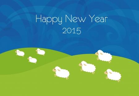New year illustration with sheep 일러스트