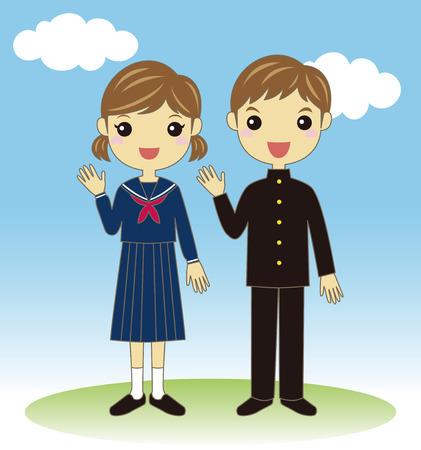 Students wearing school uniform Vector