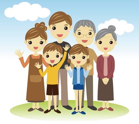 Three generation Family Illustration