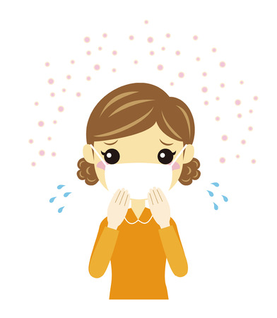 A woman have hay fever wearing a flu mask Stock Vector - 27234799