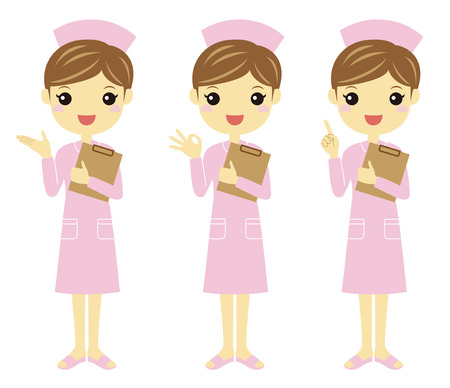 caretaker: Nurses in light pink uniform with different poses