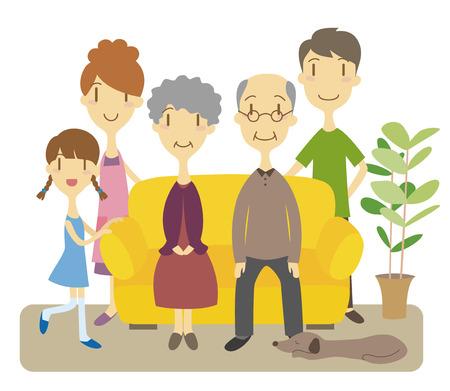 Three generation family in living room Illustration