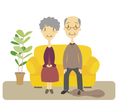 Senior couple sitting on a couch in the living room Vector
