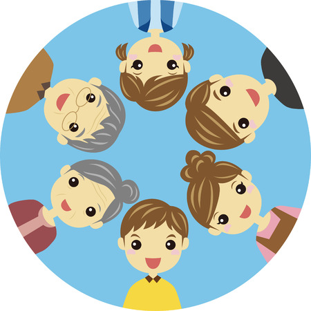 Three generation family forming circle Vector