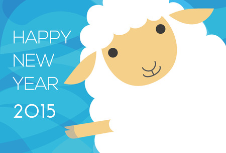 New year card with waving sheep