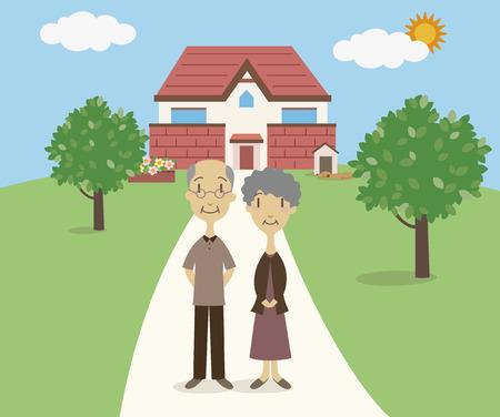 A senior couple Vector