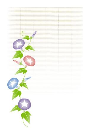 morning glory: Morning glory and bamboo blind background