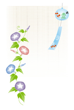 A wind chime with goldfish illustration  bamboo blind background 일러스트