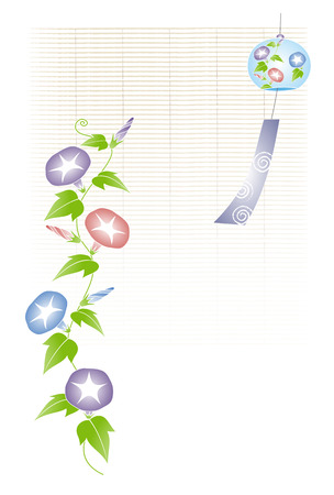 morning glory: A wind chime with morning glory illustration  bamboo blind background Illustration